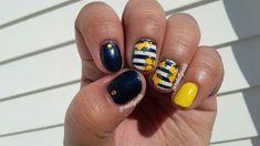 Navy blue and yellow striped flower nail art #FunNailArt