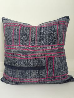 This pillow cover is made to order so pattern placement may vary. FRONT: This pillow cover is sewn from 2 pieces of vintage, batik, handwoven