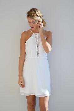 White Braided Dress | Foi Clothing | Bridal Shower Dress | Rehearsal Dinner Dress | Bachelorette Party Dress | Little White Dress | Daring Details | Flattering Fit | Great Length | MUST Have | Buy Now on foiclothing.com |