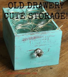Upcycle Old Drawers to Use as Cute Storage, Drink or SIlverware Caddie - Old Drawers can get a new life with a coat of CeCe Caldwell's Santa Fe Turquoise and so…