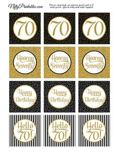 70th Birthday Cupcake Toppers Black & Gold by NiftyPrintables