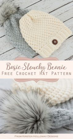 Crochet an Easy Chunky Hat With this Free Pattern - Kirsten Holloway Designs - - This slightly slouchy, chunky crochet hat pattern is quick and easy to make! 2 basic stitches make up the body of the hat. Chunky Hat Pattern, Chunky Crochet Hat, Beanie Pattern Free, Crochet Beanie Pattern, Knitted Hats, Crochet Patterns, Free Pattern, Crochet Designs, Chunky Yarn