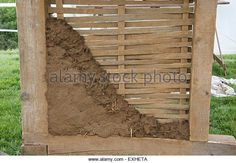 Demonstration of Medieval house building techniques -wattle and daub walls. - Stock Image