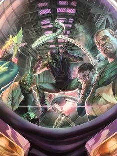 The Sinister Six - Alex Ross Batman Comic Art, Marvel Comics Art, Spiderman Art, Amazing Spiderman, Fun Comics, Spiderman Pictures, Marvel Villains, Marvel Heroes, Marvel Marvel