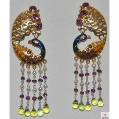 Peridot, Tourmaline, Moissanite & Pearls Dancing Peacock Style Earrings