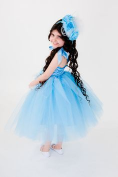 Blue Flower Girl Tutu Dress, Flower Girl by FriolinaFancyDesigns