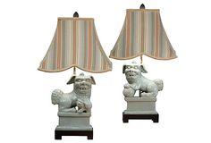 Grand Foo Dog Table Lamp Set, Celadon