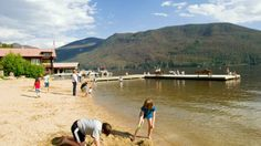 Building sandcastles on the shore of Grand Lake outside Rocky Mountain National Park, Grand Lake, Colorado