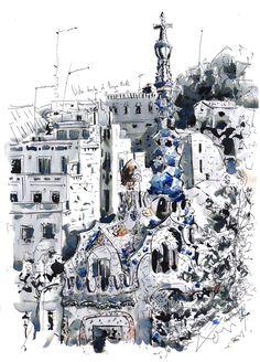 El parque guell en Barcelona, Antoni Gaudí. dibujo y tinta china- Barcelonink.