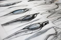 Sketching for industrial design: pencil sketch with a hint of colour, Speedboat Concept by Laura Lang, via Behance