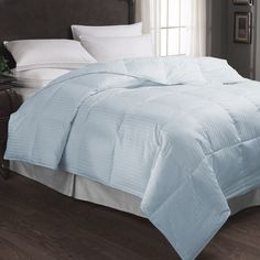 600 Thread Count Extra Filled Duvet In Light Blue Stripe