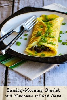 Sunday-Morning Omelet with Mushrooms and Goat Cheese (Low-Carb, Gluten-Free) [from KalynsKitchen.com]