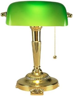 library lamp green glass
