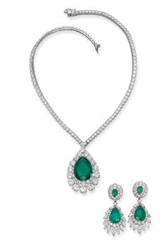 An emerald and diamond set, by Van Cleef & Arpels. The detachable pendant set with a pear-shaped emerald weighing 19.69 carats within a brilliant-cut diamond surround suspended from a brilliant-cut diamond collet necklace, the pendant detaches to form a brooch, detachable ear pendants en suite, necklace 42.0 cm long, ear pendants 5.0 cm long. http://www.christies.com/lotfinder/lot/an-emerald-and-diamond-set-by-van-4911430-details.aspx?from=salesummary=176=4911430=ae718af8-4ca