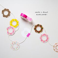 Free Doughnut Printables...use to create a Memory Game for gift or party favor, garlands, gift tags, cake toppers, you name it!   // Oh Happy Day