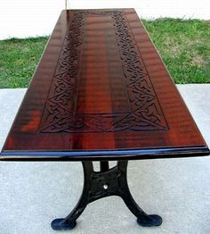 Beautiful celtic artwork on this table