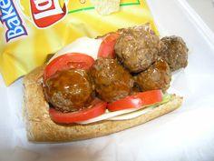 Meatball Sub on Fresh Wheat Bread Meatball Subs, Hamburger, Bread, Foods, Ethnic Recipes, Food Food, Food Items, Hamburgers, Breads