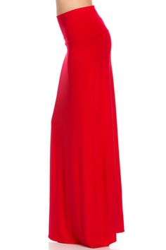 Designed by Residents On. Be sure to turn hears in this red 2-way maxi skirt. For a longer and beautiful gown look wear as is. For a comfy and laid back style, fold over at the waist. Available in plu