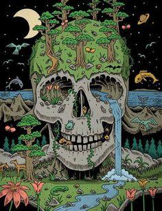 Illustration animals trippy psychedelic skull nature forest sea illusion art print Surreal Art black pen artprint deadhole on paper Art And Illustration, Illustration Animals, Art Illustrations, Arte Inspo, Kunst Inspo, Trippy Drawings, Art Drawings, Psychedelic Art, Photographie Street Art