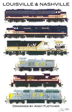 6 hand drawn Louisville & Nashville locomotive drawings by Andy Fletcher Train Drawing, Train Posters, Railroad History, Train Art, Diesel Locomotive, Steam Locomotive, Old Trains, Train Pictures, Train Engines