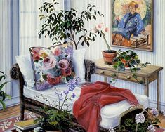 Romantic Garden Cottage -  Susan Rios Heartwarming Paintings  - Planning the Future - Susan Rios Paintings of Peaceful Victorian Room  11