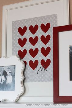 Valentine's Day Mantle Decor and Printable. Would like to make art project w/ kids out of this too.