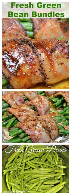 Fresh Bean Bundles - Have you ever wrapped your green beans in bacon? These Green Bean Bundles with green beans, bacon, brown sugar, and garlic are amazing! Healthy Christmas Recipes, Thanksgiving Recipes, Thanksgiving Sides, Winter Recipes, Holiday Recipes, Green Bean Casserole, Bacon Recipes, Vegetarian Recipes, Yummy Recipes