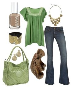 """leafy green"" by htotheb ❤ liked on Polyvore featuring Essie, Wet Seal, EAST, Style Tryst, Nino Bossi Handbags, Penny Loves Kenny, green, gold and brown"