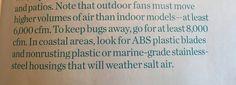 Ceiling fan info for outside