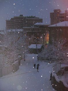 snowfall, Yerevan, Armenia