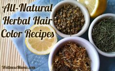 all natural herbal hair color recipes - for dark brown / black hair color and gray coverage, try very strong tea, henna followed by indigo, or indigo alone.  Can also try black walnut powder.
