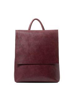 Leather Vintage Simple Style Backpack, Wine, Inman | VIPme