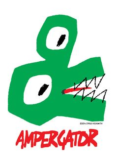 Look out! Here comes the mighty ampergator, part of my amperbeast series. Tee Design, Book Design, Design Art, Graphic Design, Bad Drawings, Plakat Design, Illustrations And Posters, Graphic Illustration, Character Design