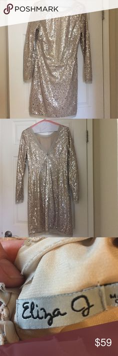 Eliza J sequined dress Eliza J sequined dress with v-back and zipper. Worn once and freshly dry-cleaned. Classic and perfect for Vegas or the holidays Eliza J Dresses Midi