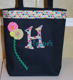 Girls personalized applique bag in pinks and lime by THECASEPLACE, $26.00