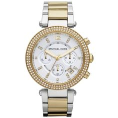 Women's Michael Kors 'Parker' Chronograph Bracelet Watch, 39Mm ($206) ❤ liked on Polyvore featuring jewelry, watches, accessories, chronograph wrist watch, two-tone watches, 2 tone watches, two tone jewelry and two tone bracelet watch
