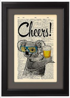 Koala with glasses and beer Cheers Koala Geekery  by Natalprint