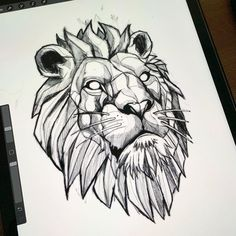 León geométrico diseño tattoo tattoo designs ideas männer männer ideen old school quotes sketches Lion Tattoo Design, Tree Tattoo Designs, Animal Sketches, Animal Drawings, Tattoo Sketches, Tattoo Drawings, Tattoo Art, Art Drawings, Lion Back Tattoo
