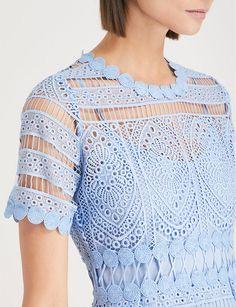 MAJE - Embroidered lace dress   Selfridges.com Lace Embroidery, Embroidered Lace, Lace Dress, Ruffle Blouse, Biker Boots, Maje, Parisian, Zip Ups, Glamour