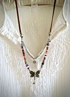 butterfly magic- double strand multicolor gemstone necklace silver peace charm fairy pendant amethyst long sundance style boho leather by sweetassjewelry on Etsy