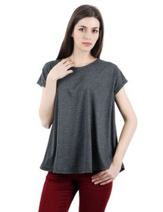 Womens Stylish Casual Shorts Sleeve Loose Fit Cotton 100% 5Colors T-Shirts CHARCOAL L