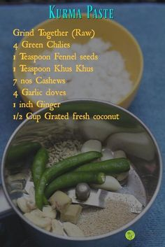 """An easy 10 minute Vegetable Kurma recipe using the One Pot One Shot Method of cooking. Recipe for Chettinad style """"Vellai"""" kurma. White Vegetable Kurma that can be served with Idiappam, Chappathi, Parotta , Idlies White veg kurma paste. Veg Recipes, Curry Recipes, Indian Food Recipes, Vegetarian Recipes, Vegetarian Cooking, Masala Powder Recipe, Masala Recipe, Veg Kurma Recipe, Veg Curry"""
