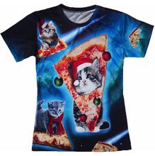 Summer style men/women Meowy Christmas galaxy space pizza cat t-shirt 3d t shirt camisa masculina plus size S-3XL Drop shipping(China (Mainland))