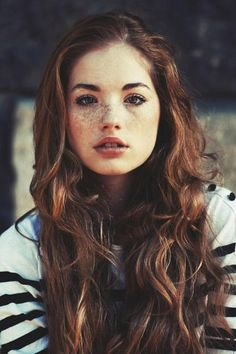 awesome, beautiful, brunette, cute, extraordinary, eyes, female, freckles, girl, lips, love, model, red hair