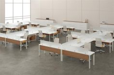 2 side by side single loaded desks with glass upper.  Use solid at ends and bench separator.