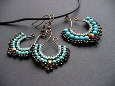 Fan earrings, beadwoven on wire in turquoise and bronze
