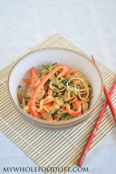 Thai Noodle Salad.  Perfect for those days it's too hot to cook.  This salad will leave you full and energized.  #vegan #glutenfree #paleo