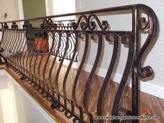 Cruved Wrought Iron Porch Railings With Wood Wrought