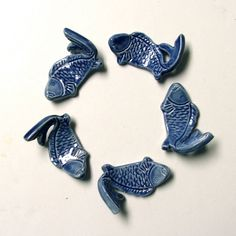 Ceramic ChopStick Rests Hand Made Set of Five Koi by sumiko2