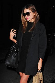 Miranda Kerr - allblack outfit with givenchy bag
